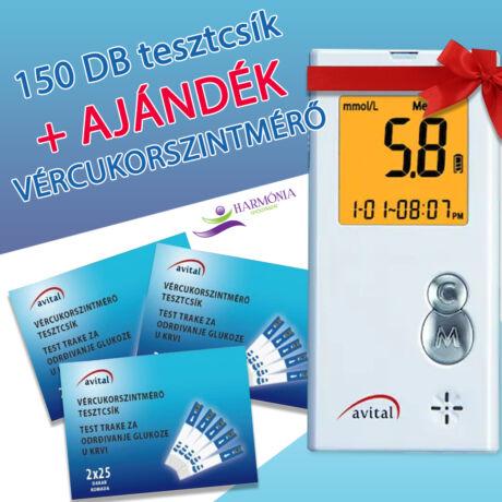 Avital 150 db Tesztcsík + AJÁNDÉK Vércukorszintmérő
