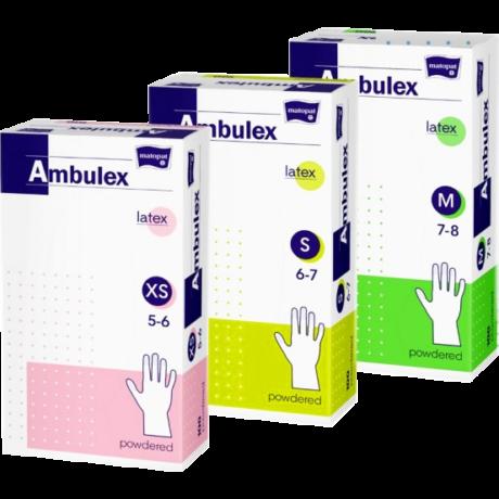 Ambulex gumikesztyű latex púderes
